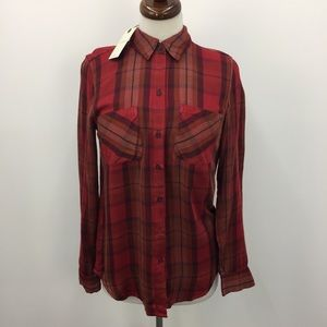 NWT Lucky Brand Red Plaid Flannel Button Down Top